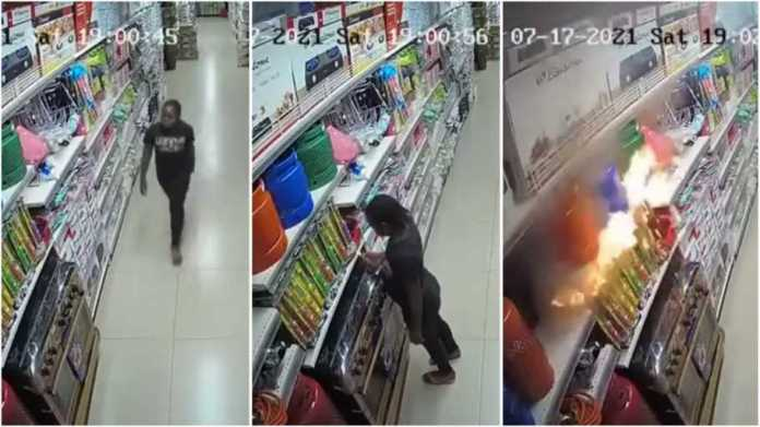 CCTV footage shows moment lady deliberately set supermarket on fire