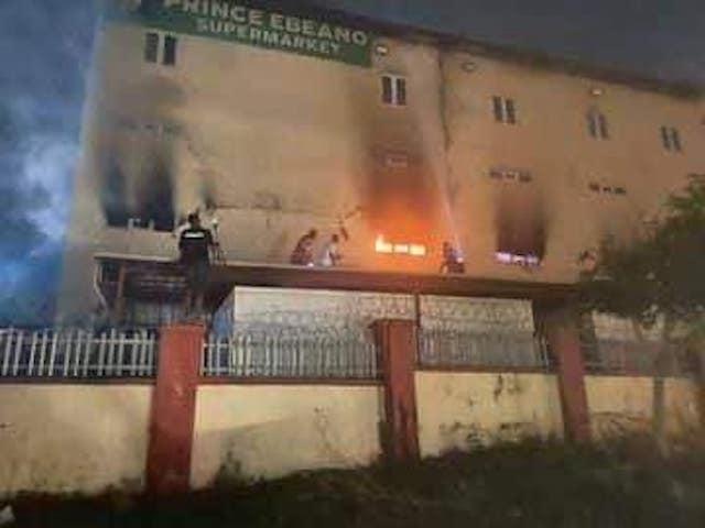 Fire at Ebeano Supermarket Logogoma Abuja