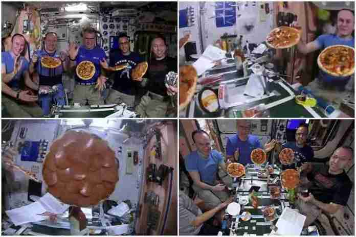 astronauts enjoy floating pizza at international space video goes viral 1