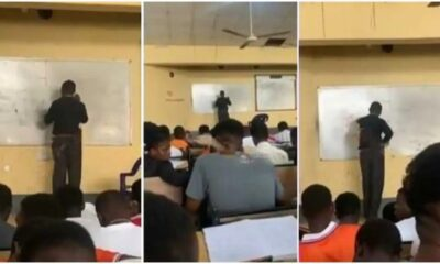 university lecturer gets stuck on the board while solving physics question video