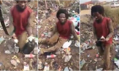 Drama As Man Faking Madness To Collect Used Sanitary Pads And Diapers At Dumpsite Gets Caught